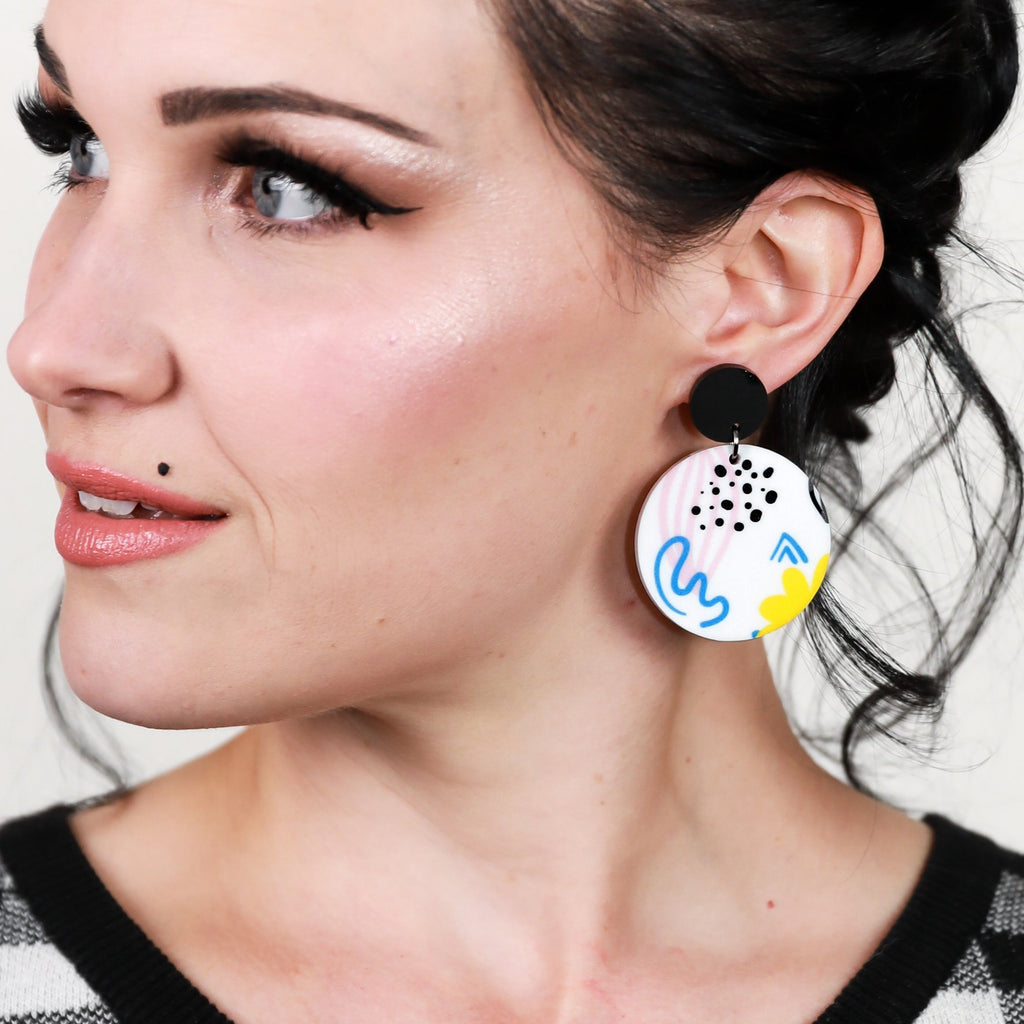 Abstract Blue & Yellow Earrings