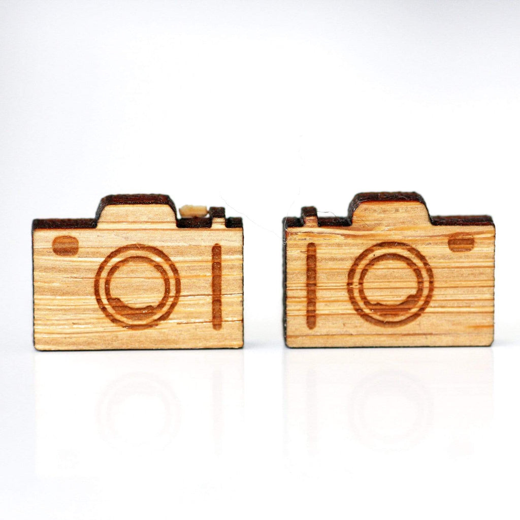 Camera Bamboo Wooden Stud Earrings