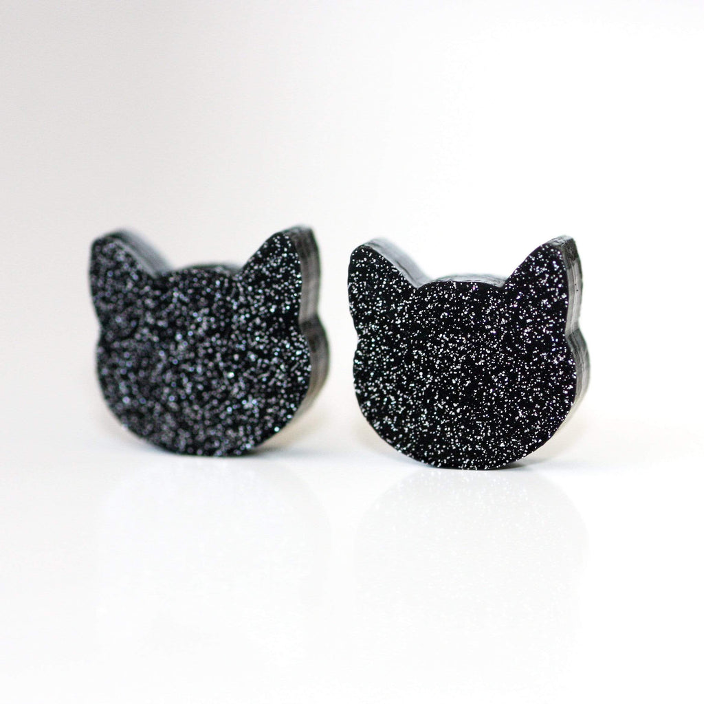 Cat Face Stud Earrings - Black Shimmer (9mm or 12mm)