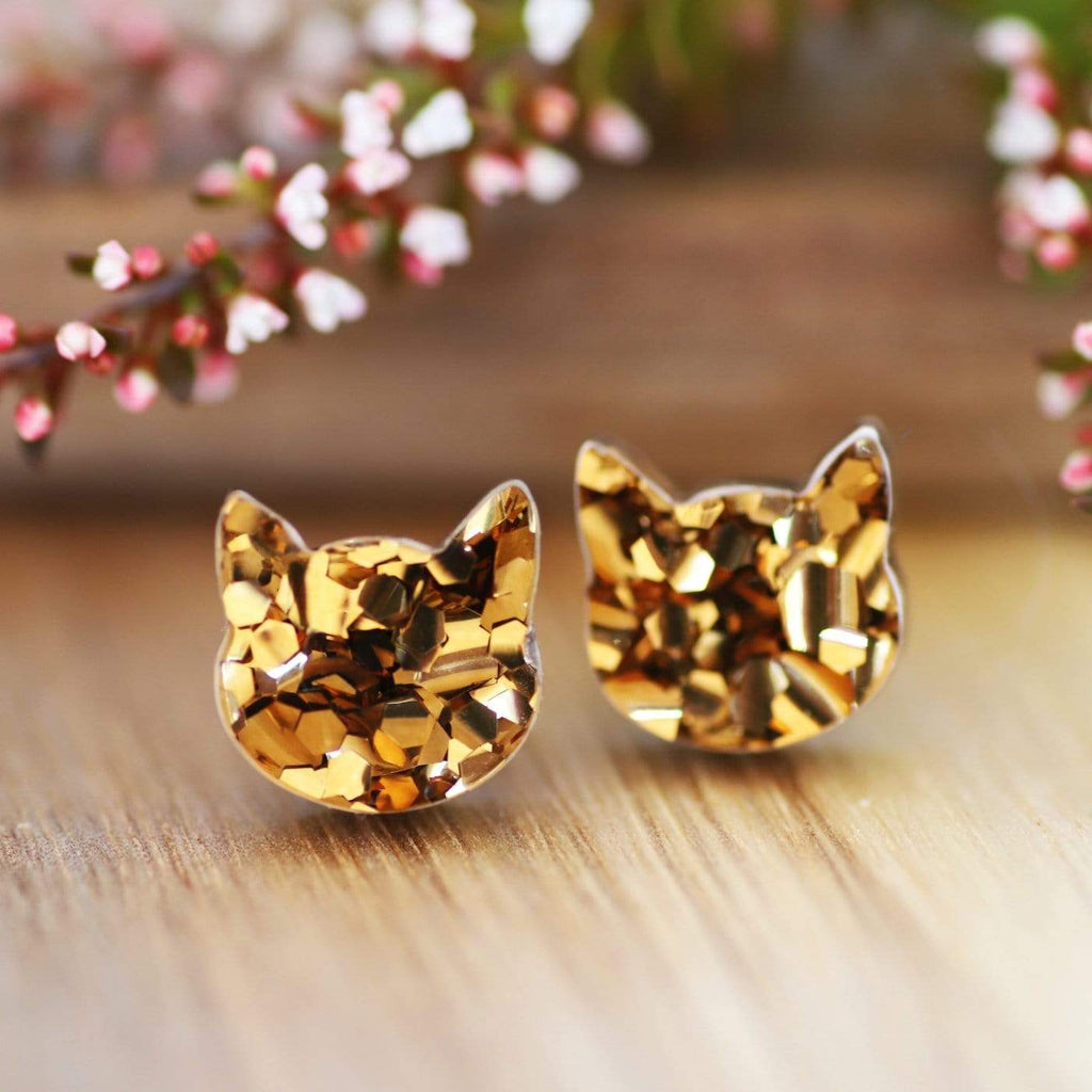 Cat Face Stud Earrings - Bronze Glitter