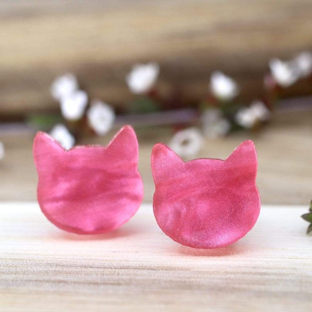 Cat Face Stud Earrings - Pearl Pink