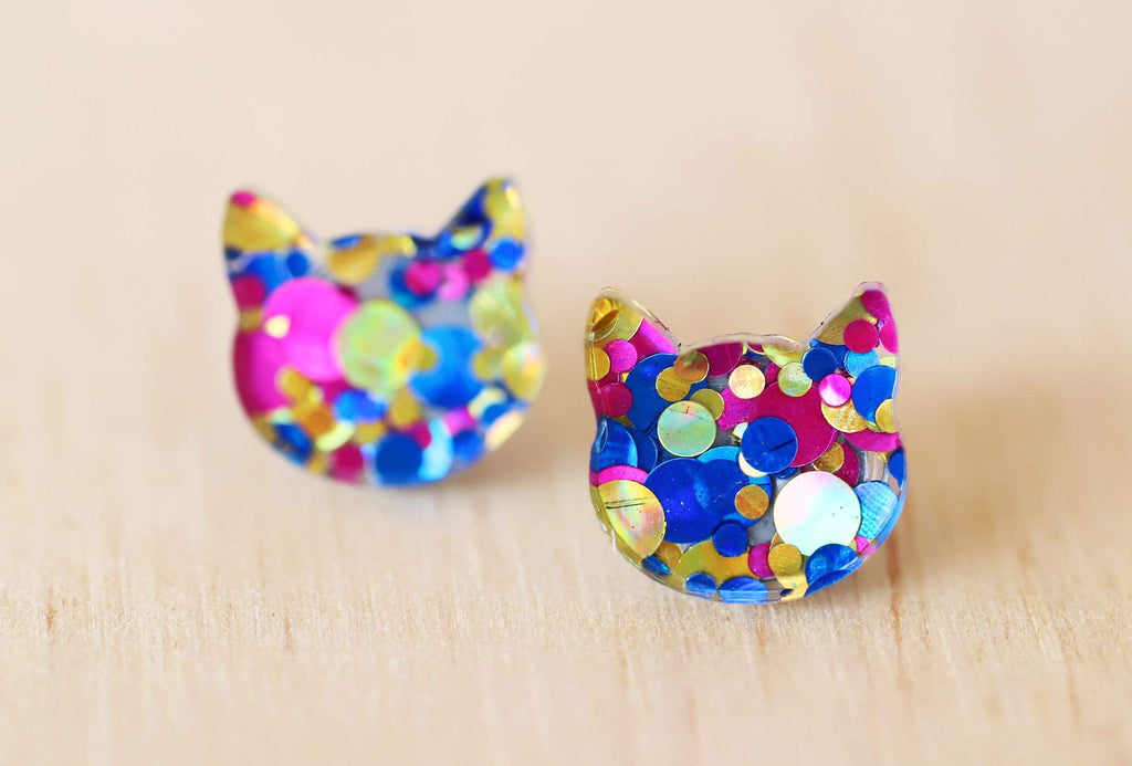 Cat Face Stud Earrings - Polka Dots