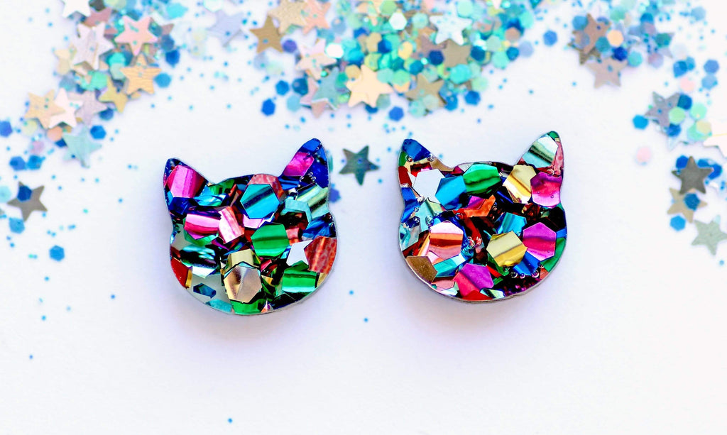 Cat Face Stud Earrings - Rainbow Glitter