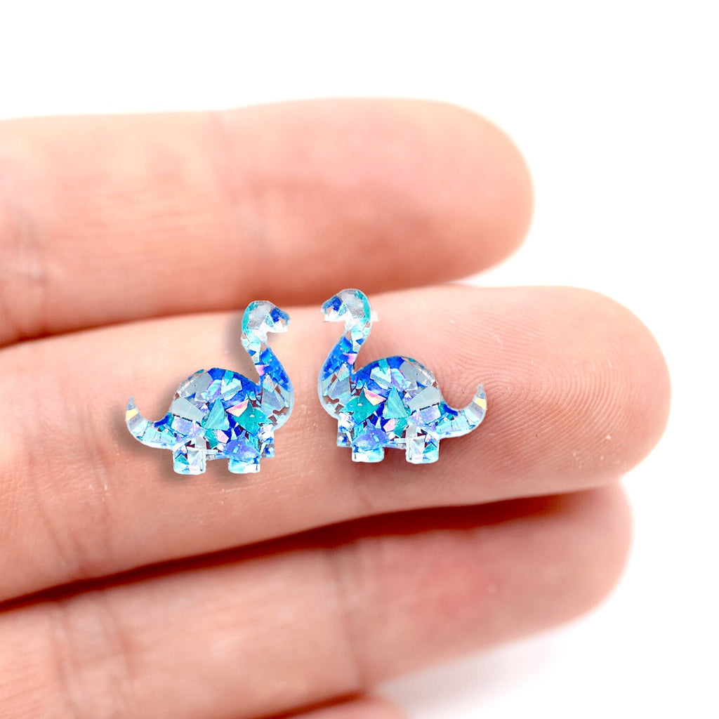 Dinosaur Stud Earrings - Brontosaurus - Iridescent Blue Glitter