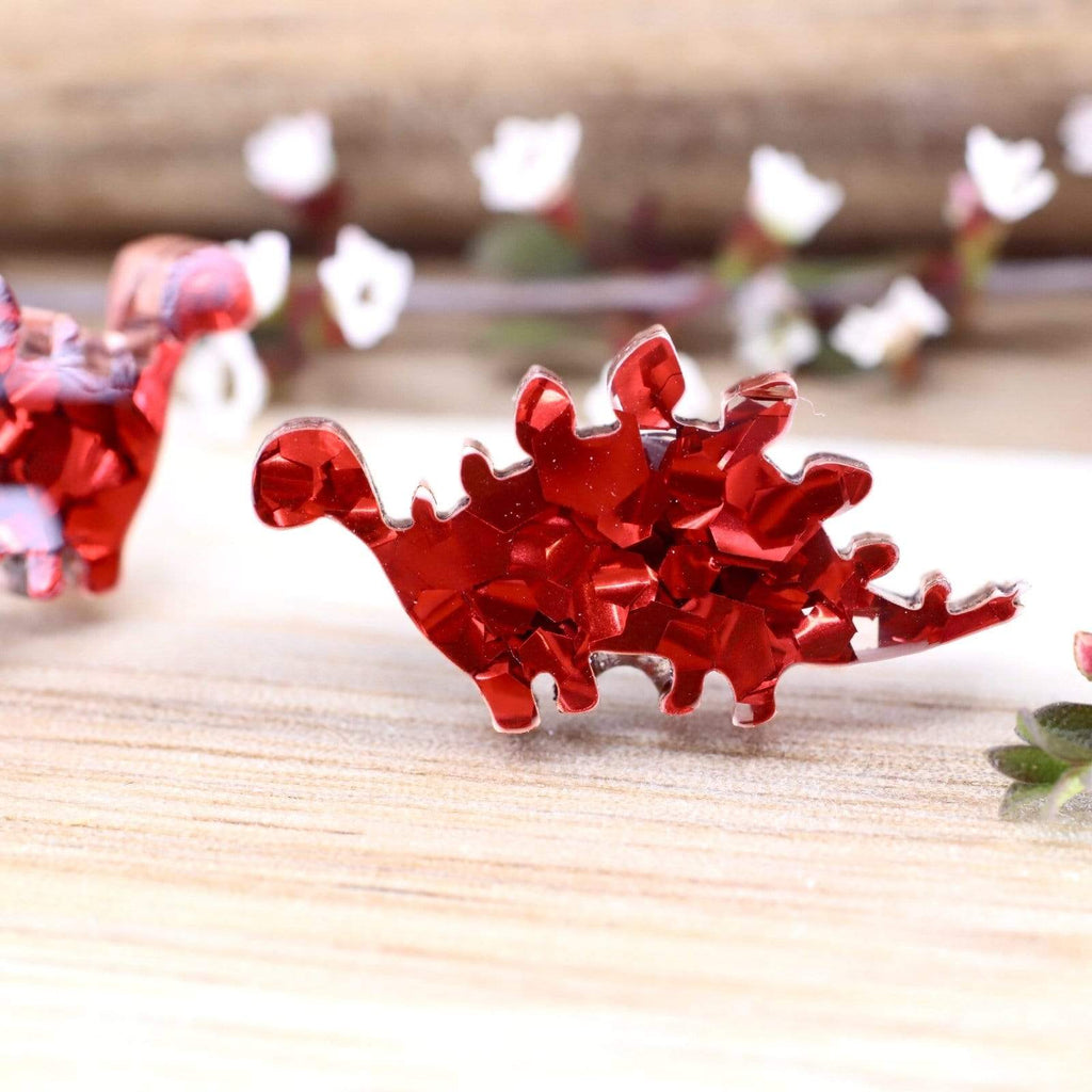 Dinosaur Stud Earrings - Stegosaurus - Cherry Red Glitter