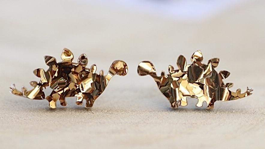 Dinosaur Stud Earrings - Trio Gift Box - Bronze Glitter