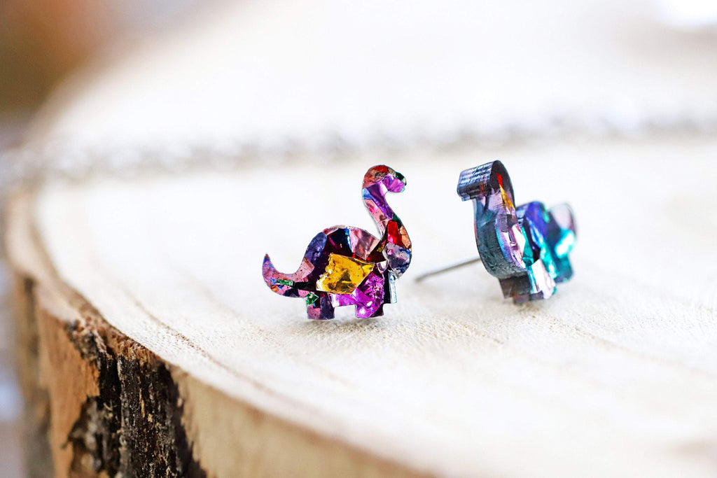 Dinosaur Stud Earrings - Trio Gift Box - Rainbow Kaleidoscope