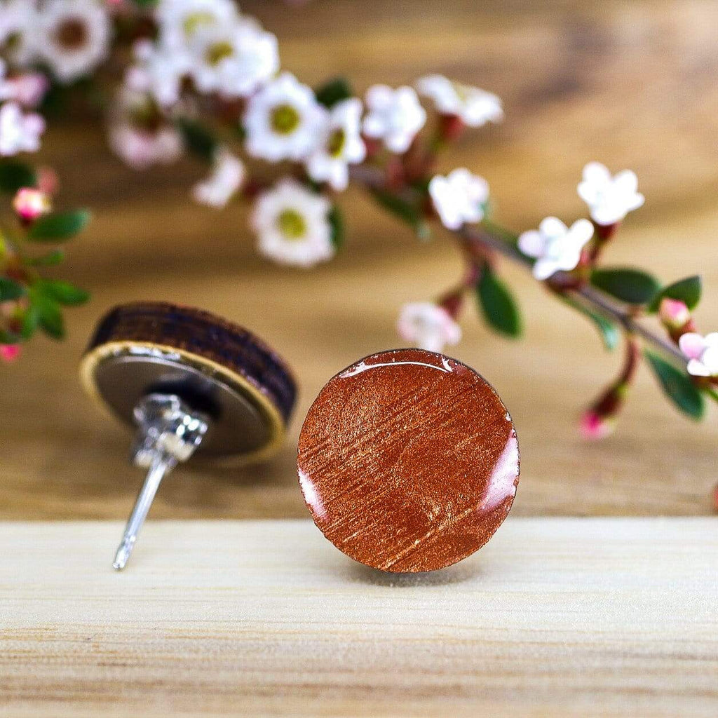 Eco Orange Copper Resin Wooden Stud Earrings (more sizes)