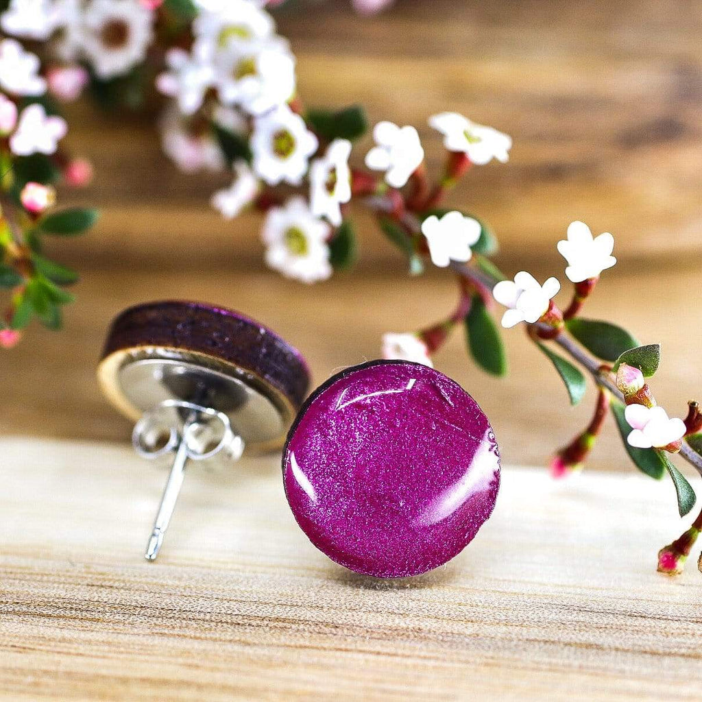 Eco Raspberry Pink Resin Wooden Stud Earrings (more sizes)