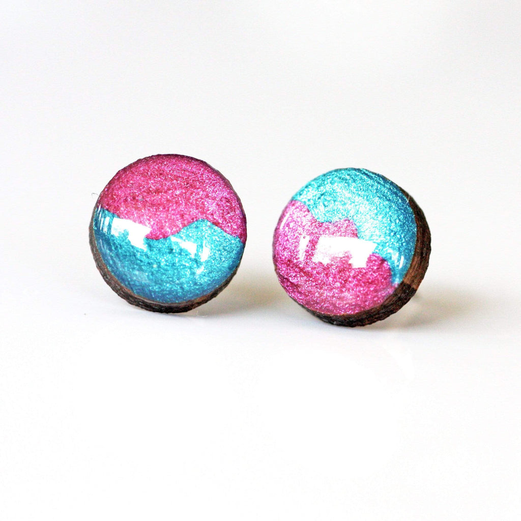 Eco Teal Blue / Raspberry Pink Resin Wooden Stud Earrings (more sizes)