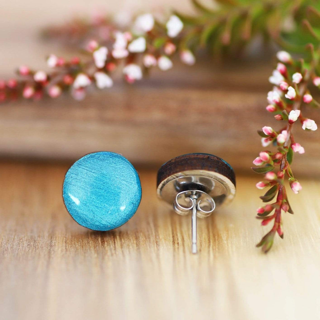 Eco Teal Blue Resin Wooden Earrings (more sizes)