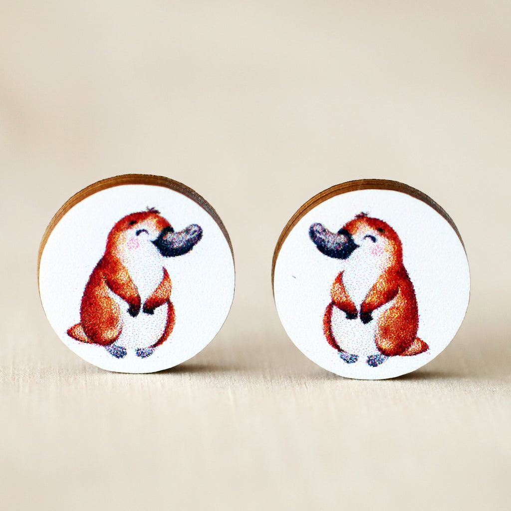 Platypus 12mm Wooden Stud Earrings
