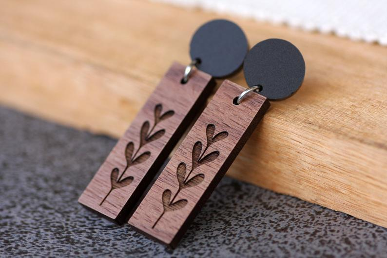 Sprout Etched Dark Wooden Dangle Earrings