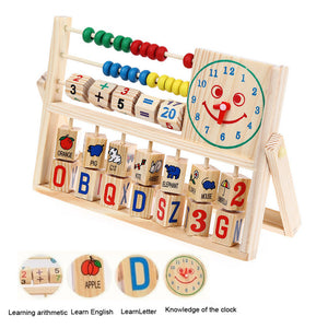 Combined Wooden Abacus - Learning Early Educational Development - Numbers, letters, words, images in this toy.