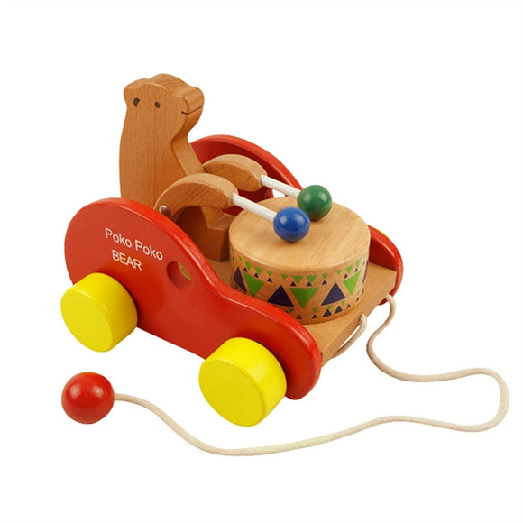 Walk A Long Drum Bear Car Wooden Pull Toy