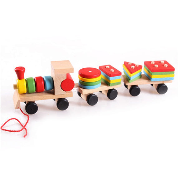 Small Pull and Drag Wooden Train Puzzle Pieces Assembled