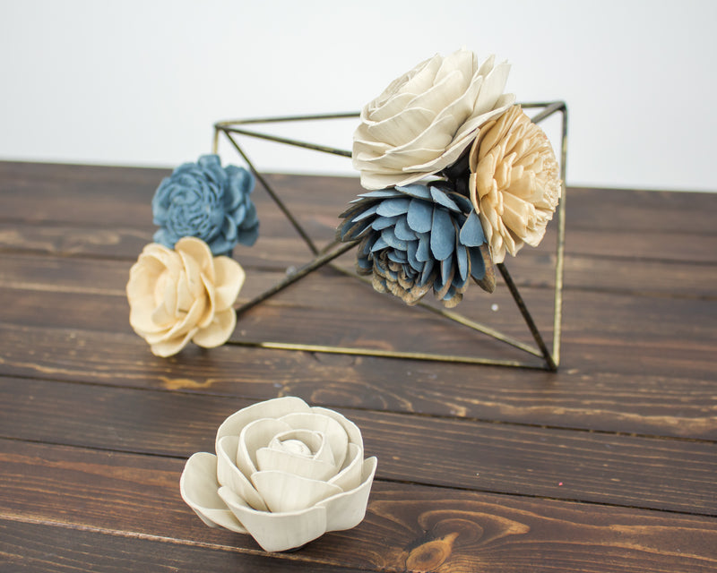 Wood Flower Magnets