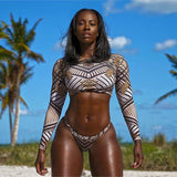 African Print Long Sleeve Swimsuit