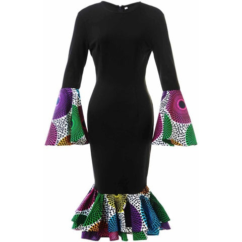 Multi-Color Peacock ends Print Dress