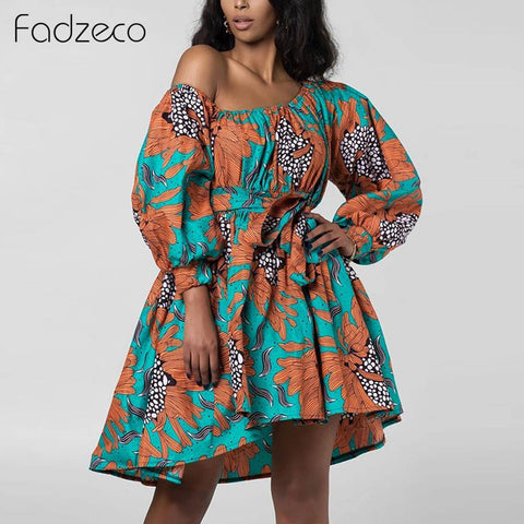 Off Shoulder Puffed Sleeve Tribal Dress