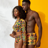 Kente Print African Couples Swimsuit