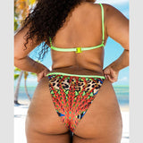 African Leopard Print Nylon Accented Bathing Suit