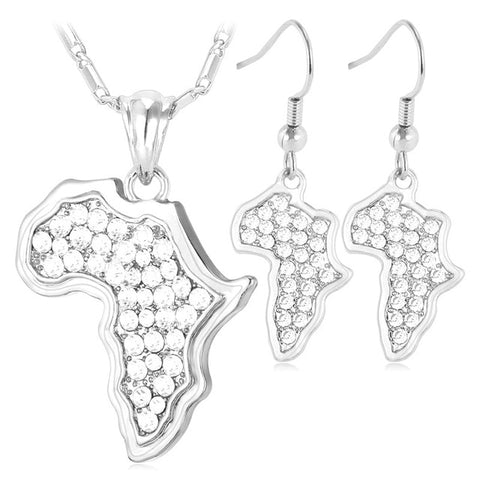 African Map Pendant And Earrings Set