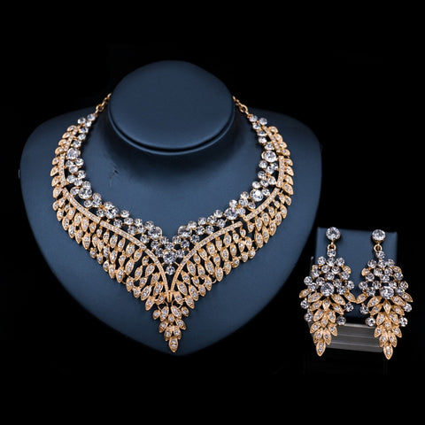 African Crystal Necklace and Earrings  Jewelry Set