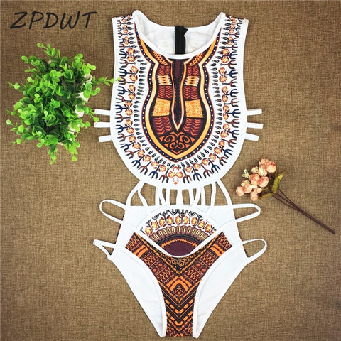 Yellow Tribal One Piece Swimsuit