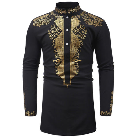 Gold Coast African Embroidered Long Sleeve Shirt