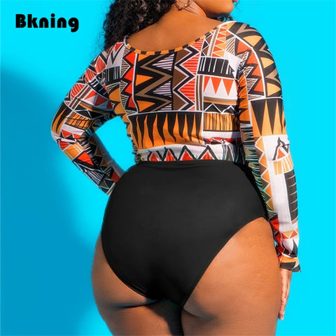 Afro Print Long Sleeve Bikini