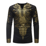 White Gold Traditional African Print Shirt