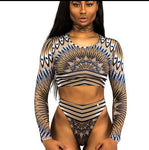 Tribal Print Long Sleeve Bathing Suit