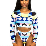 Kente Print Long Sleeve Bikini