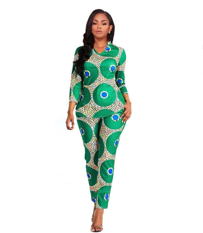 African Green Peacock Pant Suit