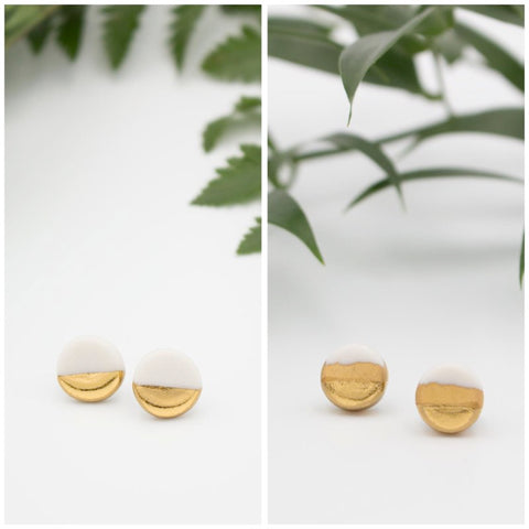 Gold + White Circle Earrings