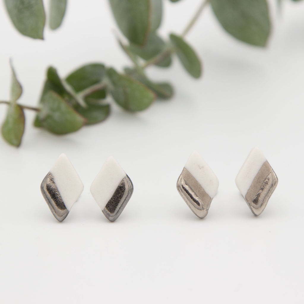 Silver + White Diagonal Diamond Earrings