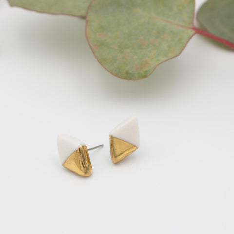 Gold + White Diamond Earrings