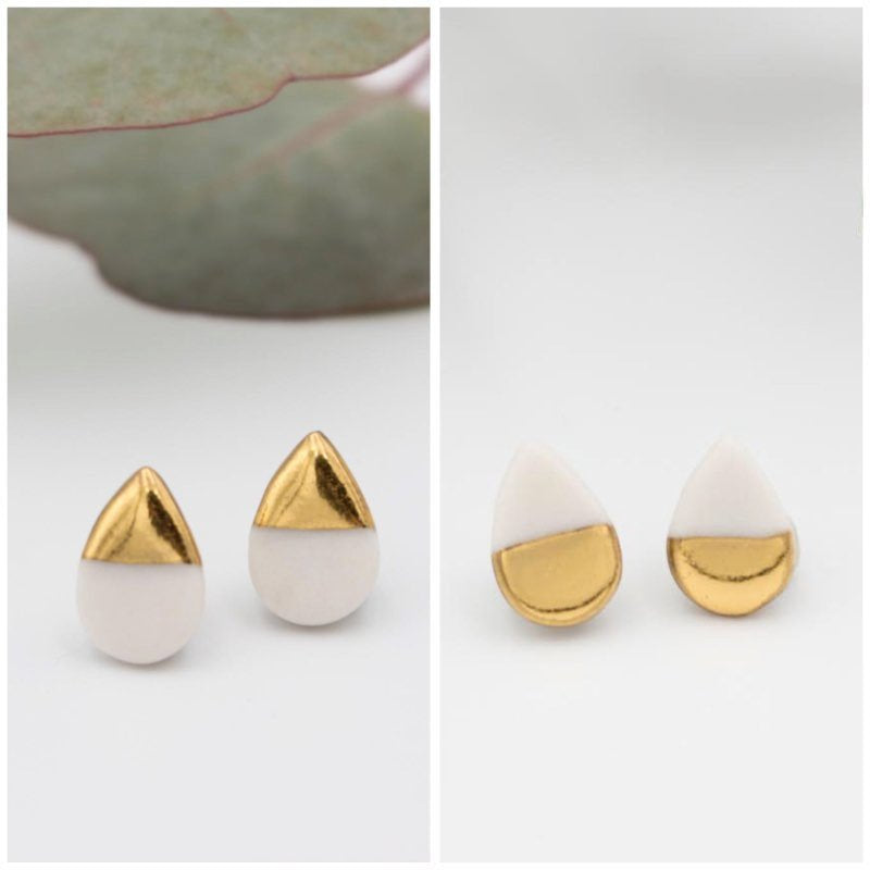 Gold + White Teardrop Earrings