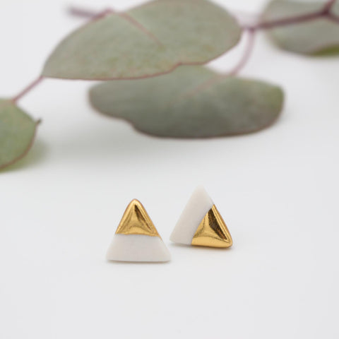 Gold + White Triangle Earrings