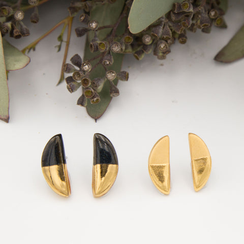 Gold + Black Half Oval Earrings