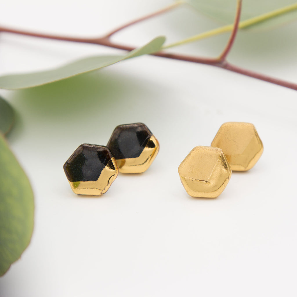Gold + Black Hexagon Chevron Earrings