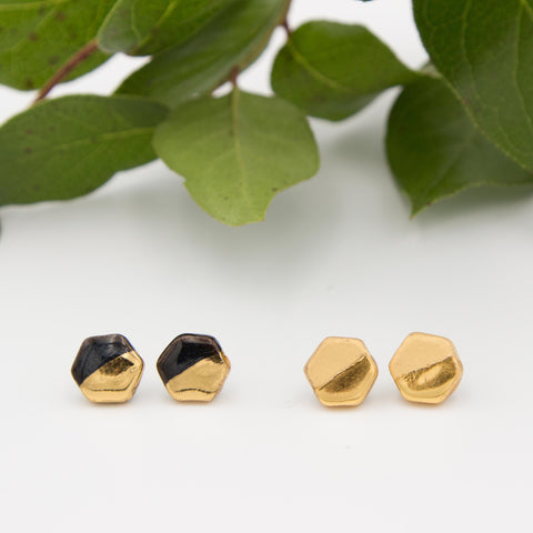 Gold + Black Hexagon Earrings