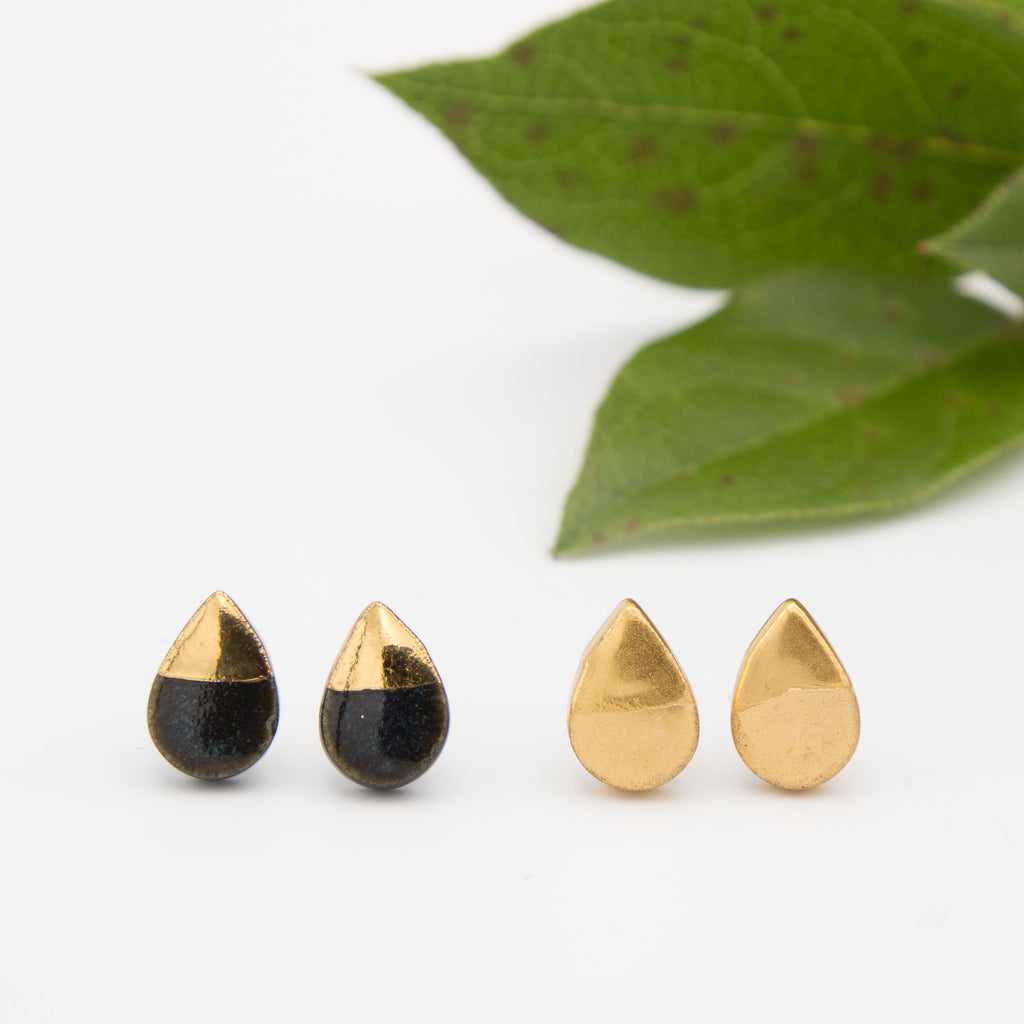 Gold + Black Teardrop Tip Earrings