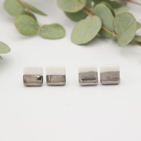 Silver + White Square Earrings