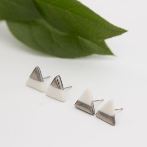 Silver + White Triangle Earrings