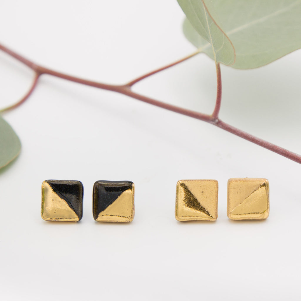 Gold + Black Square Earrings