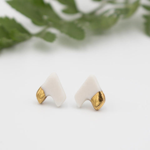 Gold + White Arrow Earrings
