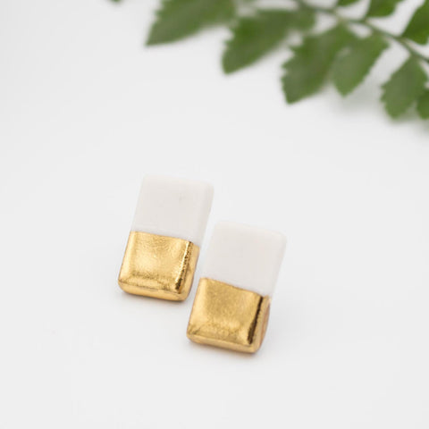 Gold + White Rectangle 1 Earrings