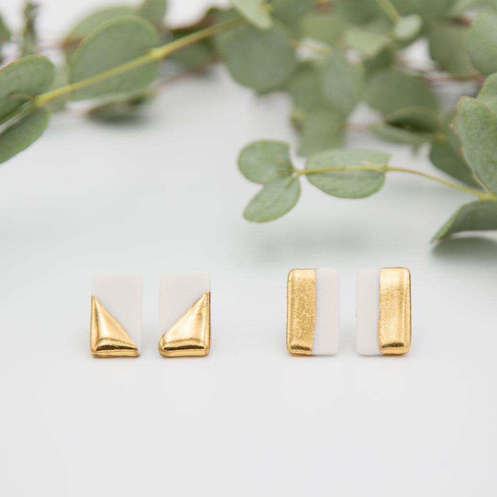 Gold + White Rectangle Earrings